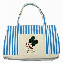 Victorian St Patrick s Day Blue Striped Tote Bag by EndlessVintage