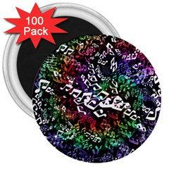 Urock Musicians Twisted Rainbow Notes  3  Button Magnet (100 Pack)