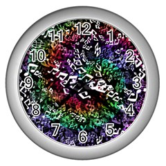 Urock Musicians Twisted Rainbow Notes  Wall Clock (silver) by UROCKtheWorldDesign