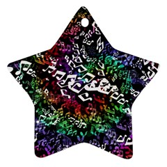 Urock Musicians Twisted Rainbow Notes  Star Ornament (two Sides) by UROCKtheWorldDesign