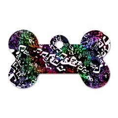 Urock Musicians Twisted Rainbow Notes  Dog Tag Bone (two Sided) by UROCKtheWorldDesign