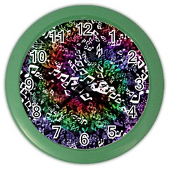 Urock Musicians Twisted Rainbow Notes  Wall Clock (color) by UROCKtheWorldDesign