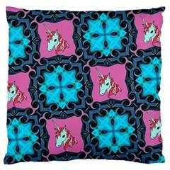Aqua Unicorn Large Cushion Case (two Sided)