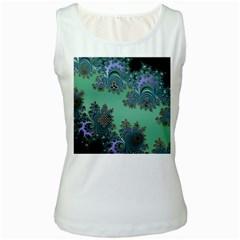 Celtic Symbolic Fractal Design In Green Women s Tank Top (white) by UROCKtheWorldDesign
