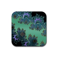 Celtic Symbolic Fractal Design In Green Drink Coasters 4 Pack (square) by UROCKtheWorldDesign