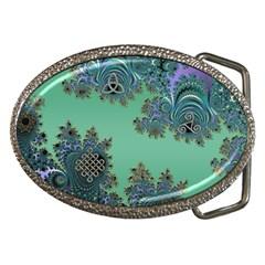 Celtic Symbolic Fractal Design In Green Belt Buckle (oval)