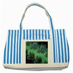 Celtic Symbolic Fractal Design in Green Blue Striped Tote Bag