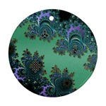 Celtic Symbolic Fractal Design in Green Round Ornament (Two Sides)