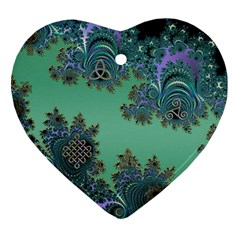 Celtic Symbolic Fractal Design In Green Heart Ornament (two Sides) by UROCKtheWorldDesign