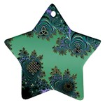 Celtic Symbolic Fractal Design in Green Star Ornament (Two Sides)
