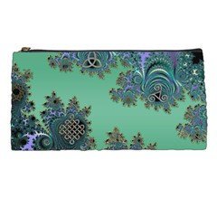 Celtic Symbolic Fractal Design In Green Pencil Case