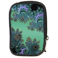 Celtic Symbolic Fractal Design In Green Compact Camera Leather Case by UROCKtheWorldDesign