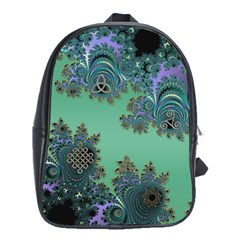 Celtic Symbolic Fractal Design in Green School Bag (Large) by UROCKtheWorldDesign