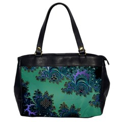 Celtic Symbolic Fractal Design In Green Oversize Office Handbag (one Side) by UROCKtheWorldDesign