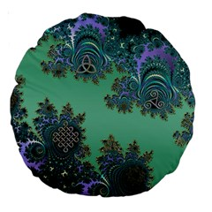 Celtic Symbolic Fractal Design In Green 18  Premium Round Cushion  by UROCKtheWorldDesign