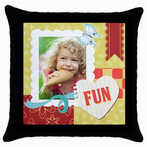Kids By Kids   Throw Pillow Case (black)   Nikzsrny50b3   Www Artscow Com Front
