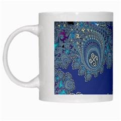 Blue Metallic Celtic Fractal White Coffee Mug by UROCKtheWorldDesign