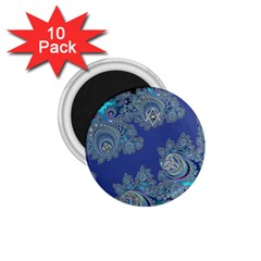 Blue Metallic Celtic Fractal 1 75  Button Magnet (10 Pack) by UROCKtheWorldDesign