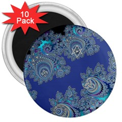 Blue Metallic Celtic Fractal 3  Button Magnet (10 Pack) by UROCKtheWorldDesign