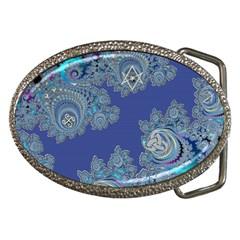 Blue Metallic Celtic Fractal Belt Buckle (oval)
