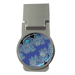 Blue Metallic Celtic Fractal Money Clip (round) by UROCKtheWorldDesign