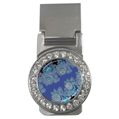 Blue Metallic Celtic Fractal Money Clip (cz) by UROCKtheWorldDesign