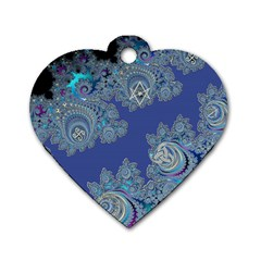 Blue Metallic Celtic Fractal Dog Tag Heart (one Sided)  by UROCKtheWorldDesign