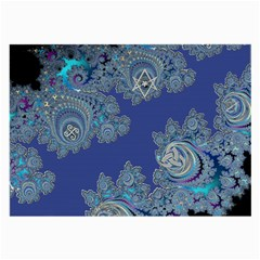 Blue Metallic Celtic Fractal Glasses Cloth (Large, Two Sided)