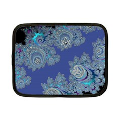 Blue Metallic Celtic Fractal Netbook Sleeve (small) by UROCKtheWorldDesign