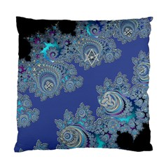 Blue Metallic Celtic Fractal Cushion Case (two Sided)  by UROCKtheWorldDesign