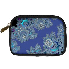 Blue Metallic Celtic Fractal Digital Camera Leather Case by UROCKtheWorldDesign