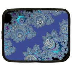 Blue Metallic Celtic Fractal Netbook Sleeve (xxl) by UROCKtheWorldDesign