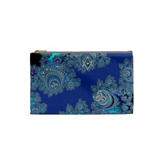Blue Metallic Celtic Fractal Cosmetic Bag (small) by UROCKtheWorldDesign