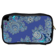 Blue Metallic Celtic Fractal Travel Toiletry Bag (one Side) by UROCKtheWorldDesign