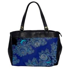 Blue Metallic Celtic Fractal Oversize Office Handbag (one Side) by UROCKtheWorldDesign