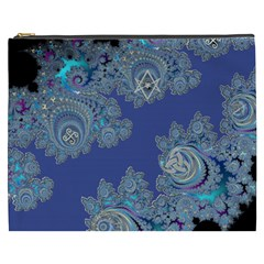 Blue Metallic Celtic Fractal Cosmetic Bag (xxxl) by UROCKtheWorldDesign