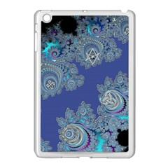 Blue Metallic Celtic Fractal Apple Ipad Mini Case (white) by UROCKtheWorldDesign