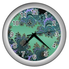 Celtic Symbolic Fractal Wall Clock (silver) by UROCKtheWorldDesign