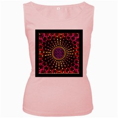 Hot Lavender Celtic Fractal Framed Mandala Women s Tank Top (pink)