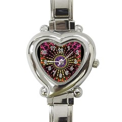 Hot Lavender Celtic Fractal Framed Mandala Heart Italian Charm Watch  by UROCKtheWorldDesign