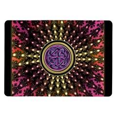 Hot Lavender Celtic Fractal Framed Mandala Samsung Galaxy Tab 10 1  P7500 Flip Case by UROCKtheWorldDesign