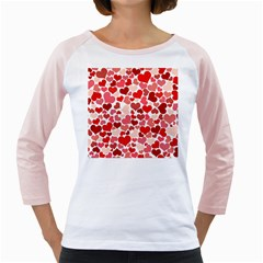 Pretty Hearts  Women s Long Cap Sleeve T-Shirt (White)  by Colorfulart23