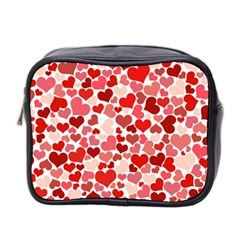 Pretty Hearts  Mini Travel Toiletry Bag (two Sides) by Colorfulart23