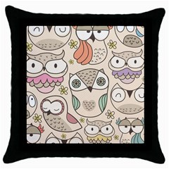 Owl pattern Black Throw Pillow Case by Contest1771913