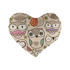 Owl Pattern 16  Premium Heart Shape Cushion  by Contest1771913
