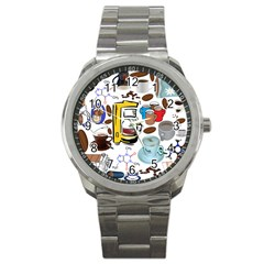 Just Bring Me Coffee Sport Metal Watch by StuffOrSomething