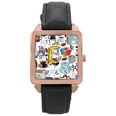 Just Bring Me Coffee Rose Gold Leather Watch  by StuffOrSomething