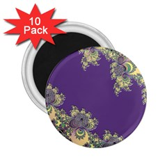 Purple Symbolic Fractal 2 25  Button Magnet (10 Pack)