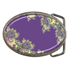 Purple Symbolic Fractal Belt Buckle (oval)