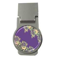 Purple Symbolic Fractal Money Clip (round) by UROCKtheWorldDesign